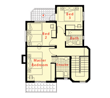 3 Bedroom 2 Bathroom First Floor Plan